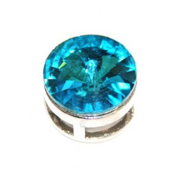 5pcs x 16.5mm Rhodium sliding bead with turquoise colour rhinestone -- S.A -- WC201 -- 4000103